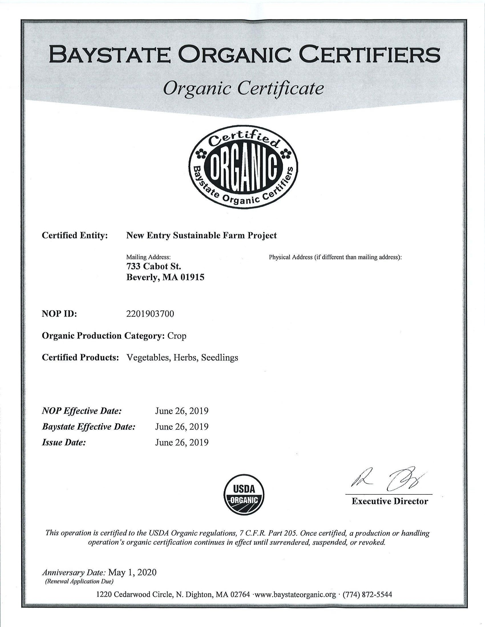 New Entry Receives Usda Organic Certification New Entry Sustainable Farming Project
