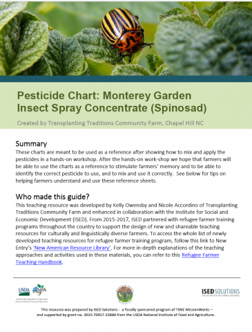 Pesticide Chart: Spinosad | New Entry Sustainable Farming Project